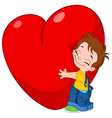 kid hug heart vector image