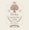label for whiskey with crown and oak tree vector image