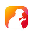 man smokes flat icon with long shadow silhouette vector image vector image
