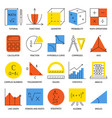 mathematic science icon set in line style vector image vector image