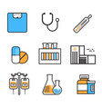 medical icon set thin line medicine equipment sign vector image