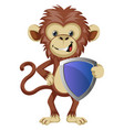 monkey with shield on white background vector image vector image