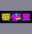 neon lettering night party on brick wall vector image