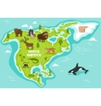 north american with wildlife animals vector image