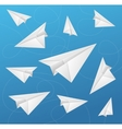 Paper Aircraft Fly on Blue Background vector image vector image