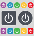 Power icon sign A set of 12 colored buttons Flat vector image