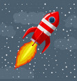 retro space rocket lifts off vector image