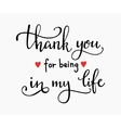 Romantic thanks lettering vector image vector image