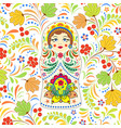 russian doll matryoshka and abstract flowers vector image vector image
