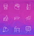 school icons line style set with desk lamp sports vector image