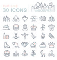 set flat line icons vancouver and canada vector image vector image
