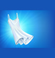 shiny white dress on blue background empty space vector image vector image