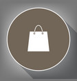shopping bag white icon on vector image vector image