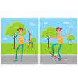 skateboarder training in green skatepark with tree vector image vector image