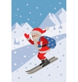 Skiing Santa on the slope mountain vector image