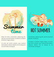 summer time hot vacation posters with attributes vector image vector image