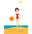 The girl on the beach vector image vector image