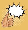 thumb up pop art vector image vector image