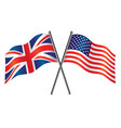 usa and uk flags crossed alliance vector image
