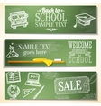 welcome back to school messages on chalkboard vector image