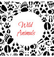 wild animals footprints poster vector image vector image