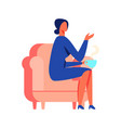 woman in blue dress sitting on white background vector image vector image