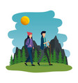young couple in camping zone vector image vector image