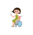 young woman sitting in wheelchair holding phone vector image