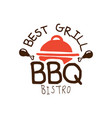best grill bbq bistro logo template hand drawn vector image