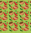 chili peppers and bowl pattern in green background vector image