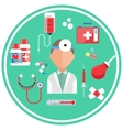 Hospital concept with item icons vector image