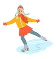 Girl figure ice skating cartoon vector image