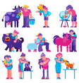 animal care people brushing feeding dog vector image vector image