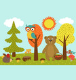 animals in forest picks mushrooms and berries vector image vector image