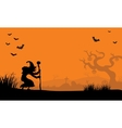 At afternoon witch and bat Halloween vector image
