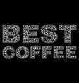 best coffee text in polygonal mesh style vector image vector image