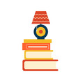book pile and cute round lamp standing on them vector image