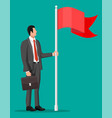 businessman in suit standing with flag vector image