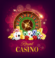 Casino roulette wheel golden coins and chips