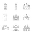 castles icon set outline style vector image vector image
