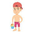 caucasian boy in shorts holding pail and shovel vector image