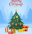 Christmas tree with gifts celebration postcard vector image vector image