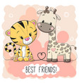 cute tiger and giraffel vector image vector image