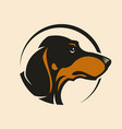 dachshund dog head sign mascot in circle vector image
