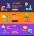 different types cute jelly monsters characters vector image