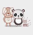 dog and panda bear vector image