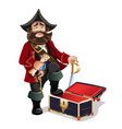 empty treasure chest and pirate vector image