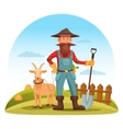 Farmer man with spade and goat on field vector image