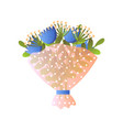 fresh blue bloomy flowers bouquet in paper vector image vector image