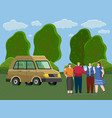 friends come truck to forest people rest and vector image vector image